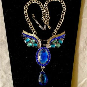 """Wings with gemstone crystals in silvertone 20"""" euc"""